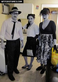 Grayscale Halloween costume. How cool is this.. I had to stare at this picture for a while and then it became ever more fascinating.