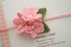 Felt+Flower+Headband++in+Pink+Pearl++Newborn+by+MyMondaysChild,+$7.95