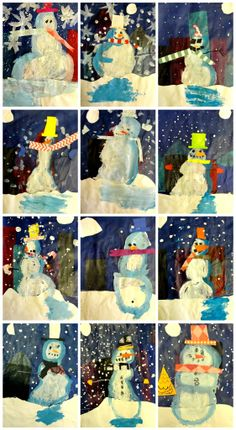 snowman collage - snowmen at night