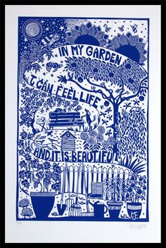 Buy In my Garden, XL blue and white linocut, Linocut by Mariann Johansen-Ellis on Artfinder. Discover thousands of other original paintings, prints, sculptures and photography from independent artists. Linocut Prints, Art Prints, Blue Prints, White Art, Blue And White, Blue Art, Prints For Sale, Art Inspo, Printmaking