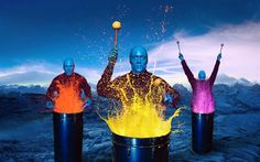 Great way to combine entertainment and art. Could give guests disposable overalls and incorporate this into a contemporary themed exhibition. Source: http://whoshotyouanthonyalden.blogspot.com.au/2013/03/blue-man-group-paint-drumming.html