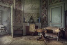 The floral room. The room was finished with floral wallpaper in the abandoned mansion.