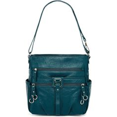 Rosetti Double Duty Bucket Shoulder Bag ($33) ❤ liked on Polyvore featuring bags, handbags, shoulder bags, bucket handbags, bucket purse, cross body cell phone purse, blue crossbody purse and shoulder strap handbags