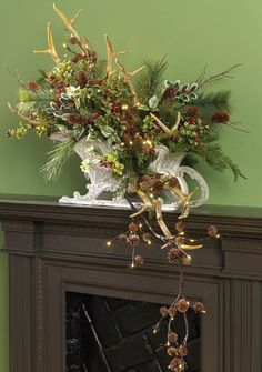 raz-lighted-pinecone-garland-antler-spray-centerpiece