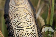 Womens Archery Bracer Arm Guard etched brass armor lightweight leather and metal. $83.99, via Etsy.