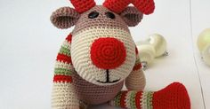 You need 5 different color yarn Reindeer Rudolf. red  green white beige brown  Work in continuous spiral. All stitches are...