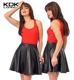 Leather style Jersey skirt