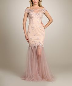Another great find on #zulily! Blush Shimmer Trumpet Gown #zulilyfinds