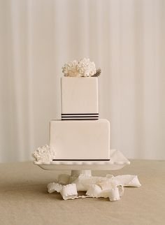 * Like the simplicity of this and the how most of the cake is white then has small black lines at the bottom of each tier.