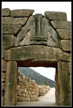 Lions Gate, BCE, Mycenae Greece] The Lion Gate consists of two monoliths surmounted by a triangular stone sculpture in which a central pillar of Minoan type is flanked heraldically by a pair of high relief lions. Ancient Greek Art, Ancient Ruins, Ancient Greece, Egyptian Art, Ancient Artifacts, Ancient Egypt, Greek History, Ancient History, European History
