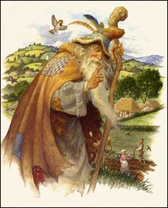 Scott Gustafson ~Merlin the Wizard visits a Farmer and his Wife~from Tom Thumb in Classic Fairy Tales~ via The Pictorial Arts  Artwork © 2009, Scott Gustafson.