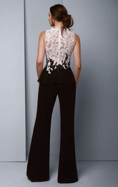 Beside Couture by Gemy - Lace Scalloped Jewel Crepe Jumpsuit in White and BlackBeside Couture by Ge - February 09 2019 atLook and feel your best in this jumpsuit, Beside Couture by Gemy Lace appliques in vine-like patterns wrapped the top and continu Jumpsuit Prom Dress, Formal Jumpsuit, Wedding Jumpsuit, Black Jumpsuit, Cocktail Jumpsuit, Evening Dresses, Prom Dresses, Jumpsuits For Women, Dress To Impress