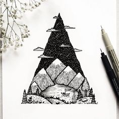 """Mountain Lake"" a camping scenery// #mountain #tree #clouds #nature #arts_gallery #lines #drawing #illustration #photooftheday #picoftheday #me #fun #love #artofdrawingg #art #supportart #sun #waterfall #bridge #rtistic_feature #iblackwork #blvart #monday @designspiration #tattoo #bw #life #handdrawn #arts_help @thedesigntip"