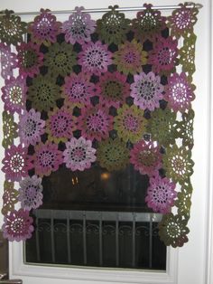 Crochetted Doily curtain - beautiful