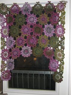 Crochetted Doily curtain - beautiful …