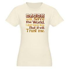 Bacon will save the world! Organic Women's Fitted> Bacon will save the world!> Malarkey Pie - geeky t-shirt goodness. #tees4debt