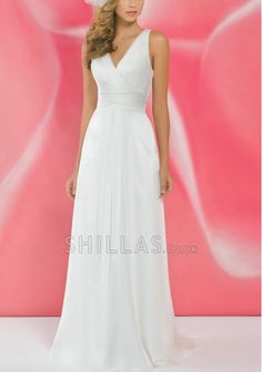 White V-neck Neckline With Rushed And The Back Details Is Deep V Beach Wedding Dresses - 1540247 - Wedding Dresses