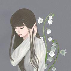「君影草」 _ #illustration #illustrator #art #lilyofdavalley #drawing #painting #digtalart #flower #girl #longhair #tinyflowers #artwork #ibispaint #イラストレーション #イラスト #すずらん #君影草 #花 #女の子 #ペイント #アート #絵 #少女 Anime Art, Artworks, Lily, Drawing, Illustration, Painting, Art Pieces, Illustrations, Painting Art