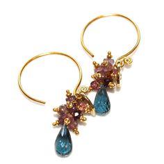 London Blue Topaz Earrings Pink Spinel Bali Gold by FizzCandy, $60.00