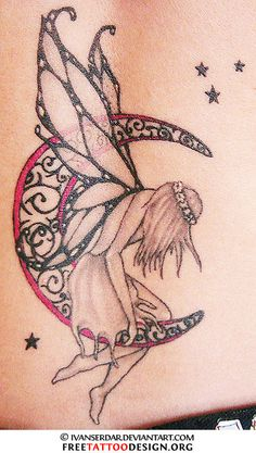 Tattoo of a fairy sitting on the moon