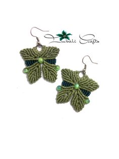 Handmade macrame earrings made with wax cord & by ImbaliCrafts