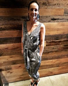 Fran in the Silk Sequin Print Jumpsuit! Printed Jumpsuit, Sequins, Silk, How To Wear, Clothes, Dresses, Fashion, Outfit, Moda