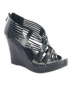 Diviana Black Crisscross Kealie Wedge Sandal by Diviana #zulily #zulilyfinds