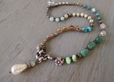 Pearl boho crochet necklace  Bohemian Belle  cottage by slashKnots: