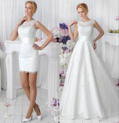 2017 2 in 1 Lace Wedding Dresses With Detachable Skirt Train High Neck Two Pieces Lace A Line Bridal Gowns vestido de noiva