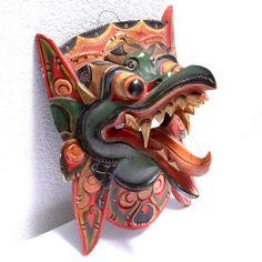 Barong Carved Balinese Wooden Mask - Vintage Polychrome Handpainted Mask Barong Naga - Indonesian Mythology Home Guard at VintageArtAndCraft