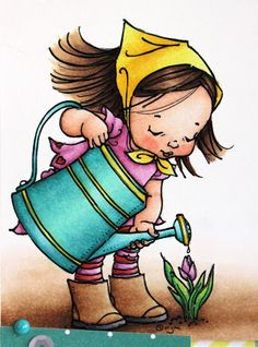 Love these colors for Spring!           skin: E13, E11, E01, E00, E0000, R22, R20  hair: E29, E27, E25, E23, E53  outfit: RV66, RV55, RV52, R27, R24, R22  handkerchief: Y19, Y15, Y11  boots: E37, E35, E33, E31, C9, C7, C5  watering can: BG49, BG57, BG53, BG11, Y19, Y15, Y11  flower: G29, G09, YG07, YG03, RV55, RV52  ground: E59, E37, E35, E33, E31, E30, E0000, 0