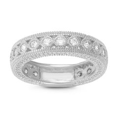 Gioelli Sterling Silver Round Cubic Zirconia Milgrain Eternity Band Ring (Size 11), Women's, White