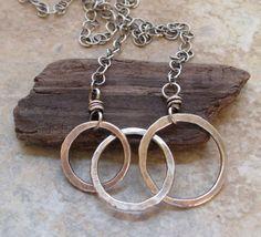 Three+Fused+Silver+Circles+on+Chain+by+marynewton+on+Etsy,+$38.00