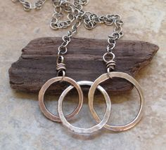 Three Fused Silver Circles on Chain