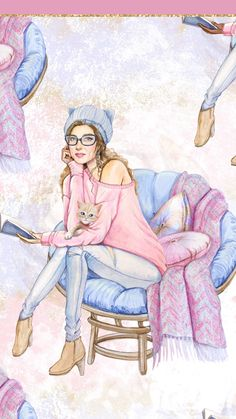 People Illustration, Cute Illustration, Watercolor Illustration, Pink Wallpaper Iphone, Wallpaper Backgrounds, Watercolor Card, Sarra Art, Wallpaper Fofos, Beauty Art