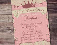 pink gold princess invitation polk a dot por AmysSimpleDesigns