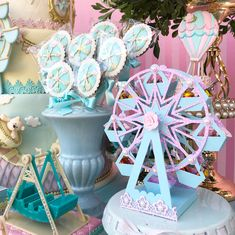 Carousel Birthday Parties, Carousel Party, Carnival Themed Party, 1st Birthday Cakes, Circus Birthday, Circus Party, Birthday Party Themes, Twin First Birthday, Fourth Birthday