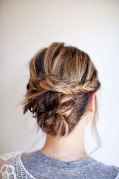 braided updo with a bun for medium hair