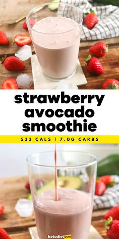 Best Strawberry and Avocado Smoothie Recipe - Easy and fast to make, loaded with healthy fats, light and fruity but with the density of a fat bomb, it will fuel you with energy! Keto Snacks, Healthy Snacks, Healthy Fats, Snack Recipes, Almond Butter Keto, Almond Butter Smoothie, Strawberry Avocado Smoothie, Vegetarian Ketogenic Diet, Low Carb Protein Shakes