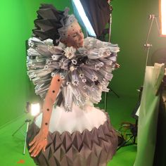 Origami dress head piece skirt paper fashion purple fold sculptured avant grade  by Meital Komemy, Daria Pavlona and Tahel Klein for Tahel's videoclip to the single Late Bloomer from the upcoming debut album Unfold white hair spray dramatic look flower art shooting