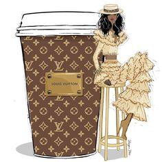 Double shot Louis Vuitton latte with extra monogram please! Louis Vuitton Agenda, Louis Vuitton Monogram, Arte Fashion, Fashion Wall Art, Ideias Fashion, Megan Hess Illustration, Coffee Cup Art, Coffee Girl, Black Girl Art