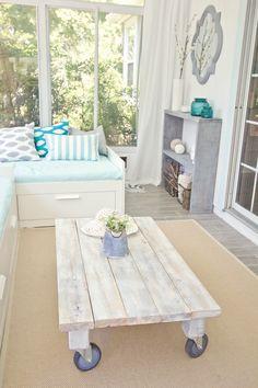 Beautiful sunroom with plenty of good looking DIYs!