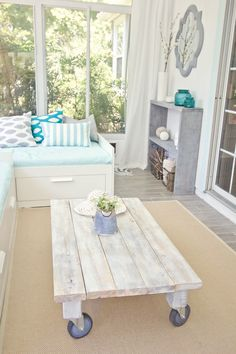 great coffee table diy...im always moving the coffee table closer or farther away to eat/put my feet up!