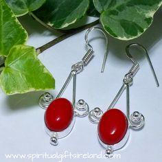 Private: Ocean Red Coral Gemstone Earrings Sterling Silver