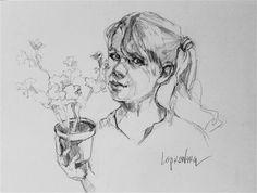 """Daily Paintworks - """"The Gardener"""" - Original Fine Art for Sale - © Laurie Johnson Lepkowska"""