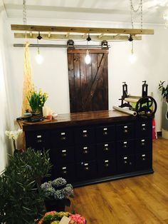 Beautiful custom made flower shop door and counter