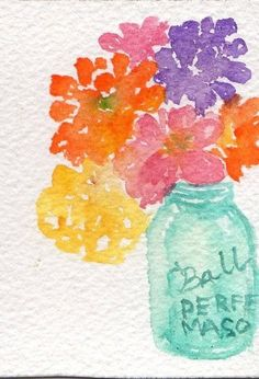 Original watercolor Colorful zinnia in Blue Canning Jar watercolor painting, Original ART, ACEO. $10.00, via Etsy.