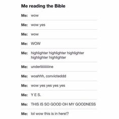 Me reading the Bible
