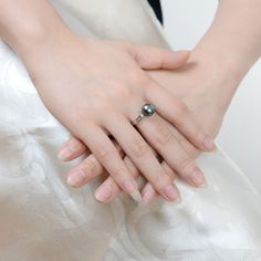 Pearl rings for wedding/engagement are comes with elegant design - available in k gold or sterling silver ring settings, with sparkling gemstones. Tahitian Pearl Ring, Tahitian Black Pearls, Wedding Engagement, Sterling Silver Rings, Gemstones, Jewelry, Jewlery, Sterling Silver Thumb Rings, Gems