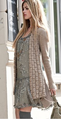 LOOKING ABSOLUTELY FANTASTIC IN HER BULKY KNIT CARDI & GLORIOUS DRESS, WHICH I ABSOLUTELY LOVE & WOULD BE A GREAT ADDITION, TO ANY WARDROBE!!